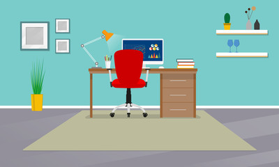 Home office interior. Workspace in room with office chair, desk and computer. Modern business background. Vector illustration.