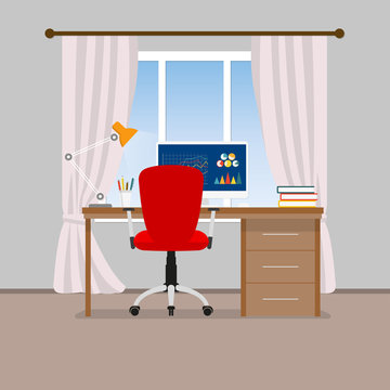 Home office interior. Workspace in room with office chair, desk, computer and window. Modern business background. Vector illustration.
