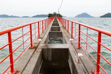 津嶋神社 -毎年8月4日と5日の夏季例大祭の時にãけ、橋板が架かり参拝することが子供の守り神-
