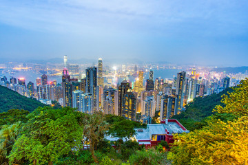 Skyline of Hong Kong during the blue hour with already the whole city in lights