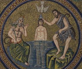 Fototapete - Baptism of Jesus (mosaic)