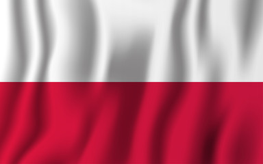 Poland realistic waving flag vector illustration. National country background symbol. Independence day
