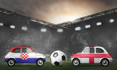 Croatia and England flags on cars with soccer or football ball at stadium