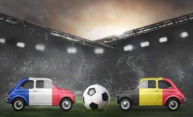 France and Belgium flags on cars with soccer or football ball at stadium