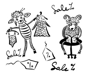 drawing picture cartoon, husband and wife, a sheep with a sheep in a clothing store, a sheep trying on a dress of wool and a swimsuit, and the man in glasses misses, reads a book, sketch, hand-drawn