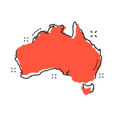 Cartoon Australia map icon in comic style. Australia illustration pictogram. Country geography sign splash business concept.