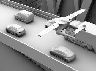 Clay shading rendering of futuristic flying car flying over traffic jam in the highway. 3D rendering image.
