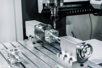 Precision milling CNC machine tool makes part. Wall mural