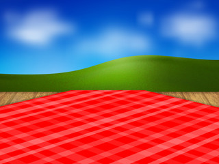 Template for your design. Red checkered tablecloth and a wooden table. Against a green meadow and blue sky. Realistic style. Vector illustration.