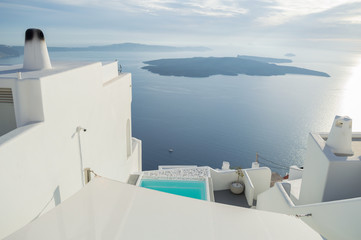 Whitewashed Houses on Cliffs with Sea View and Pool in Imerovigli, Santorini, Cyclades, Greece