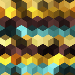 Hexagon grid seamless vector background. Minimal polygons with bauhaus corners geometric graphic design. Trendy colors hexagon cells pattern for banner or cover. Hexagonal shapes modern backdrop.