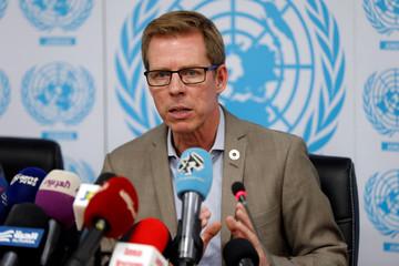 UN Resident and Humanitarian Coordinator in Jordan Anders Pedersen speaks during a news conference in Amman