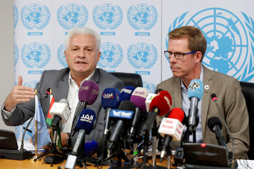 UN Resident and Humanitarian Coordinator in Jordan Anders Pedersen and UNHCR Representative in Jordan Stefano Severe, speak during their news conference in Amman