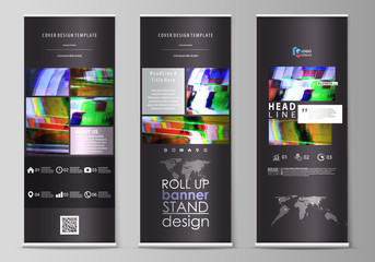 Roll up banner stands, flat design templates, abstract style, vertical vector flyers, flag layouts. Glitched background made of colorful pixel mosaic. Digital decay, signal error, television fail.