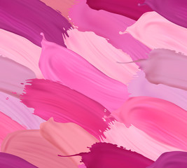 Vector seamless pattern with lipstick strokes in different colors. Modern trendy element for your designs.