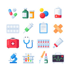 Flat pill icons. Medication dose of drug for treatment. Medicine bottle and pills in blister packs cartoon icon set