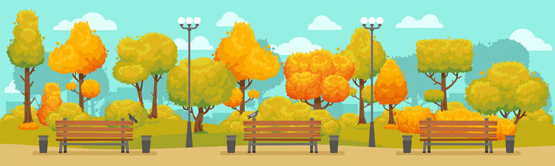 Cartoon autumn park panorama. Autumnal city parks road with yellow and red trees. Fall street tree panoramic vector background