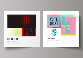 The vector illustration of editable layout of two covers templates for square design brochure, magazine, flyer, booklet. Abstract vector backgrounds in minimal design.