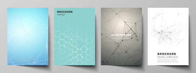 The vector layout of A4 format cover mockups design templates for brochure, flyer, report. Technology, science, medical concept. Molecule structure, connecting lines and dots. Futuristic background Wall mural