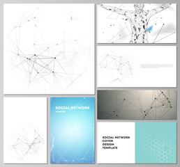 The minimalistic vector editable layouts of modern social network mockups in popular formats. Technology, science, medical concept. Molecule structure, connecting lines and dots. Futuristic background