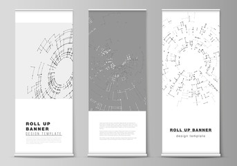 The vector layout of roll up banner stands, vertical flyers, flags design business templates. Network connection concept with connecting lines and dots. Technology design, digital geometric background