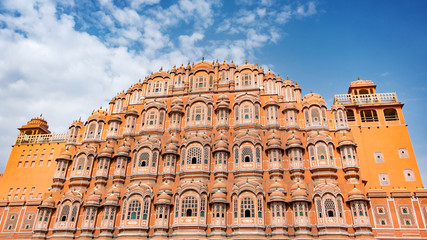 Hawa Mahal on a sunny day, Jaipur, Rajasthan, India. An UNESCO World heritage. Beautiful window architectural element.