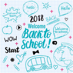 Welcome Back to school 2018 banner. Vector hand draw set elements isolated on checkered white paper background