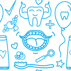 Vector Set Dental care symbols. Seamless pattern isolated on white background.