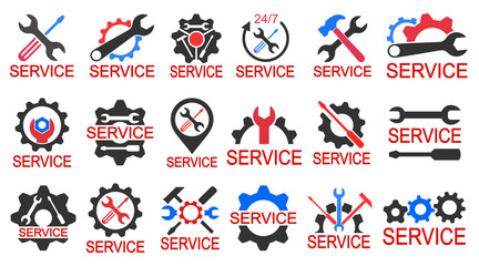 Set logo services - stock vector