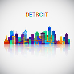 Detroit skyline silhouette in colorful geometric style. Symbol for your design. Vector illustration.