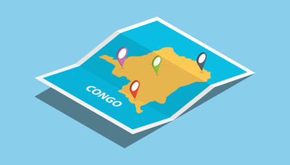 congo africa explore maps with isometric style and pin location tag on top