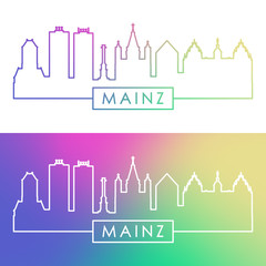 Mainz skyline. Colorful linear style. Editable vector file.