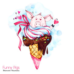 a505d16627b Greeting holidays illustration. Watercolor cartoon pig in ice cream cone  with candies and hears.