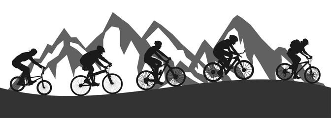 Healthy lifestyle, group of five cyclists riding in mountain - stock vector