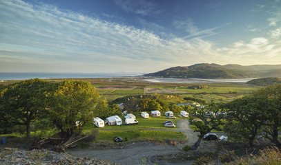 Aerial View over Coastal Campsite in Barmouth