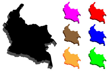 3D map of Colombia (Republic of Colombia) - black, red, purple, orange, brown, blue and green - vector illustration