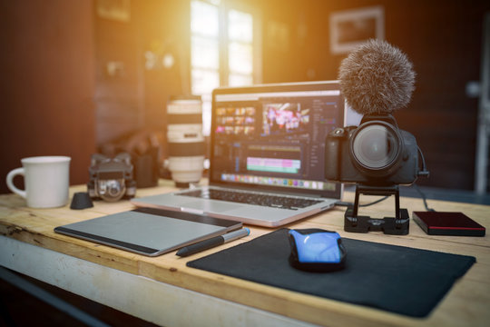 Studio office house the laptop Camera and drone gear for editor man or freelance Vlogger