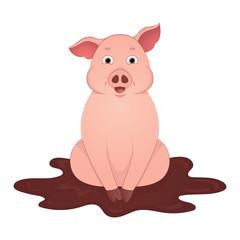 Cute pig sit in the mud cartoon symbol of the year 2019