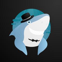 Sinister shark in the hat Smile vector illustration at black background