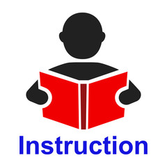 Мan read a book simple icon. Education symbol. Instruction manual icon – vector