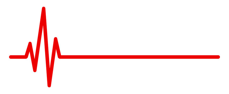 Heart pulse, one line, cardiogram sign, heartbeat - vector