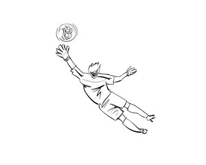 Football player. Hand drawn sketch. Vector illustration.