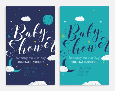 Baby shower set. Star boy and space theme.
