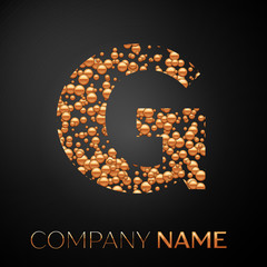 Letter G logo gold dots. Alphabet logotype with abstract golden bubbles shape on black background. Vector template for your design