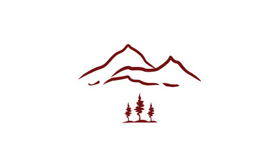 mountains and pine trees logo icon vector