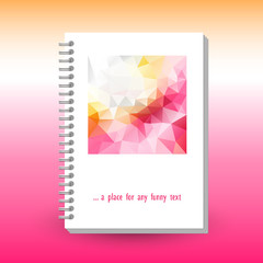 vector cover of diary or notebook with ring spiral binder - format A5 - layout brochure concept - cute spring rose orange colored with polygonal triangle pattern
