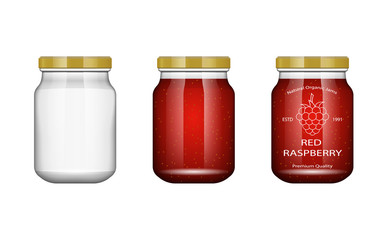 Glass jar with jam and configure with blackberry and raspberry. Vector illustration. Packaging collection. Label for jam. Bank realistic. Mock up glass jar with design label and logo.