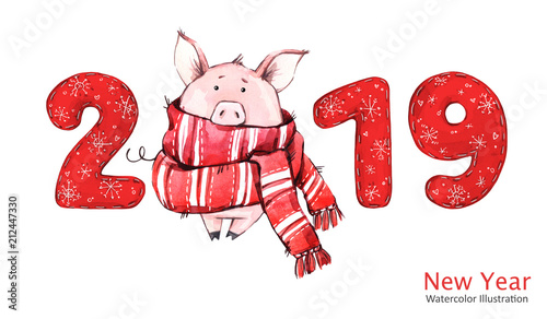2019 happy new year banner cute pig in winter scarf with numbers watercolor illustration
