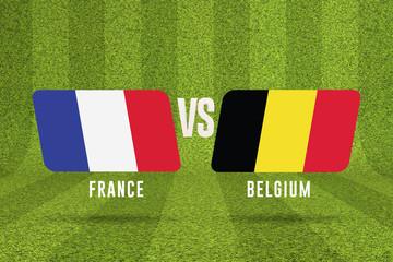 Belgium versus France soccer semi final match. 3D Rendering