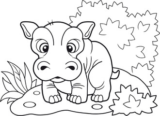cartoon cute little hippopotamus, funny illustration coloring book